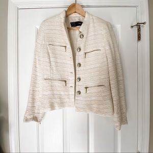 NWOT Zara Ivory Tweed Jacket